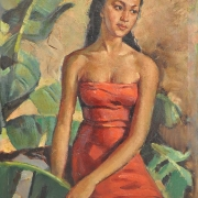 4-Indonesian Women in Red, Undated RM 36,960.00-SOLD | Oil on canvas | 69 x 50 cm