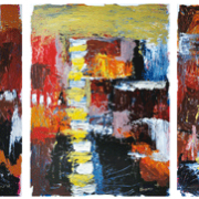 1-Abstract Landscape V, 2011 RM 7,150.00-SOLD Oil on paper 54.5 x 67 cm x 3 pieces
