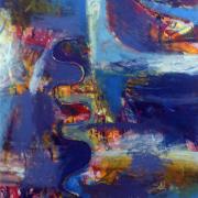 "3-RM 2,420.00-SOLD Bhanu Achan ""Landscape Series I"" (2011) Mixed Media on Canvas 151cm x 84cm RM 3,000 - 6,000"