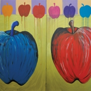 5-Apples, 2011 RM 1,680.00-SOLD | Oil on canvas | 90 x 120 cm