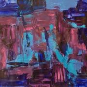 Bhanu Achan, Waterways I, 2016, Mixed media on paper 59 x 42cm