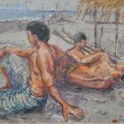 1-Fisherman Resting, Kuala Terengganu, 1989 RM 3,850.00-SOLD | Watercolour on paper | 12 x 16.5 cm