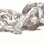 2-Nap on a Wakaf, 2005 RM 3,850.00-SOLD | Pen on paper | 12 x 18 cm