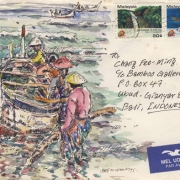 6-RM 6,600.00-SOLD Chang Fee-Ming,East Coast Fishermen, 1995,14 x 19.7 cm, Watercolour and ink on envelope