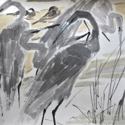 Chen-Wen-Hsi-Singapore-1906-1991-Herons-Ink-on-Paper-64cm-x-75cm