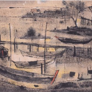 2-By the River, 1976 RM 49,500.00-SOLD | Ink and watercolour on paper | 44.5 x 93.5 cm