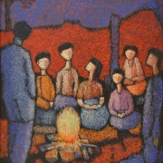 3-Family gathering, 1996 RM 5,500.00-SOLDOil on canvas71 x 58 cm