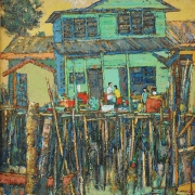 4-Stilt Houses, 2007 RM 5,500.00-SOLD | Oil on canvas| 73 x 58.5 cm