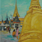 5-View of the Emerald Buddha Temple, Bangkok, 1972 RM 7,150.00-SOLD | Oil on canvas | 39 x 18.5 cm