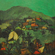 12-View from Salak South Village, Kuala Lumpur, 1964 RM 16,500.00-SOLD | Oil on board | 60 x 50 cm
