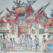 LOT-18-Chiang-Shih-Wen-'Chinese-Temple'-(1991)-Watercolour-on-paper-45-x-56-cm-RM-3,000---RM-5,000 RM 2,750.00-SOLD