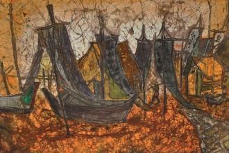 Chuah Siew Teng, Village Boats Batik 45.5 x 57 cm