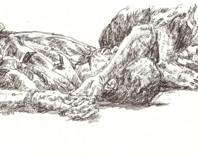1-Chang Fee Ming. Nap on a Wakaf, (2008) 18cm x 12cm, Pen on Paper