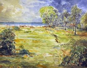 11-Khalil Ibrahim. East Coast Bachok Landscape, (2007) 59cm x 42cm Watercolour On Paper
