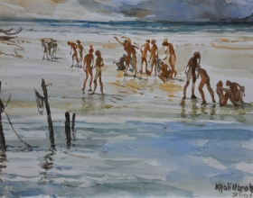 18-Khalil Ibrahim. Fishermen East Coast Series, (2001) Watercolour on Paper. 21cm x 30cm