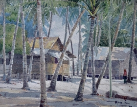 20-Mokhtar Ishak. Chinese Village, Besut (1998) 30 cmx 23cm watercolour on paper