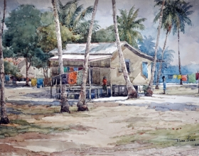 21-Mokhtar Ishak. Coastal Breeze (2011) Watercolour on Paper 55.5cm x 38cm SOLD