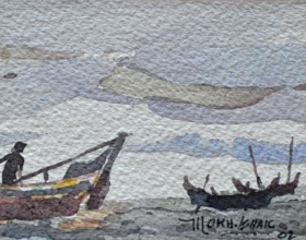 22-Mokhtar Ishak. Fishermen at Pantai Malawi (2002) 7.5cm x 6cm watercolour on paper