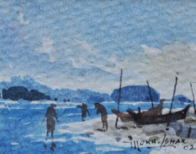 23-Mokhtar Ishak. Fishermen at Pantai Malawi (2002) 8 cmx 6cm watercolour on paper