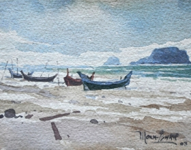 24-Mokhtar Ishak. Fishing Boats at Pantai Sabak (2003) 14cmx 10.5cm watercolour on paper