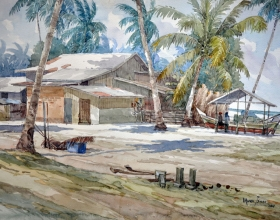 25-Mokhtar Ishak. Fishing Village in Kota Bharu (2011) Watercolour on Paper 55.5cm x 38cm