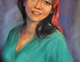 34-Mokhtar Ishak. Kelantanese Girl (1988) 44 cmx 31cm pastel on paper
