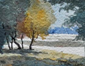 35-Mokhtar Ishak. Kota Bahru Landscape (2010) 10 cmx 7.5cm watercolour on paper