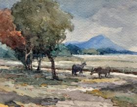 36-Mokhtar Ishak. Kota Bahru Padi Field (undated) 15 cmx 11.5cm watercolour on paper