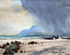 39-Mokhtar Ishak. Pantai Sabak - Khalil Ibrahim (2010) 21 cmx 14.5cm watercolour on paper