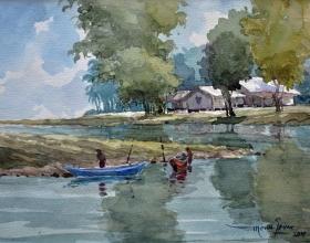 49-Mokhtar Ishak. Sunsrise in Pantai Sabak (2011) 29 cm x 22.5cm Watercolour on paper
