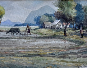 50-Mokhtar Ishak. Tilling the Field (2007) 28 cm x 20.5cm Watercolour on paper