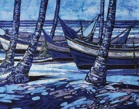 7-Ismail Mat Hussin. The Boats, (2010) Batik. 75cm x 145cm