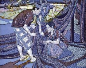5-Ismail Mat Hussin. Knitting Fishing Nets, (2008) Batik. 105cm x 105cm