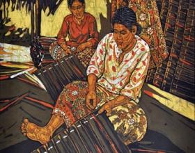 8-Ismail Mat Hussin. Weaving, (2010) Batik. 65cm x 60.5cm