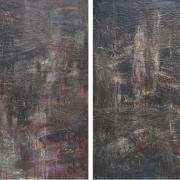 3-Candi Lembah Bujang I & II, 2004 RM 8,800.00-SOLD | Mixed media on canvas | 121 x 76.5 cm