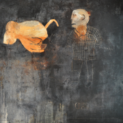9-Man and Monkey, 2009 RM 6,720.00-SOLD | Acrylic on canvas 137 x 137 cm