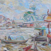 Landscape with River and Railway Bridge, Undated RM 90,200.00-SOLD | Oil on canvas | 45 x 60 cm