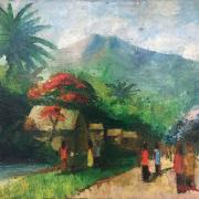 Gerard-Pieter-Adolfs-B.-Indonesia-1898-1968-Village-Scene-1950's-Oil-on-canvas-60-x-70-cm