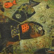 RM 6,050.00-SOLD 39 Haji Widayat (b. Indonesia, 1919 - 2002) Ikan, 2002 Oil on canvas laid on board I 30 x 40 cm RM 5,000 - 7,000