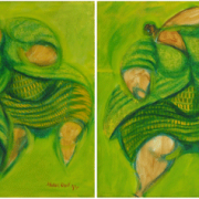 1-Fat Ladies in Green, 1999 RM 4,180.00-SOLD | Acrylic on canvas | 30.5 x 61cm (Diptych)