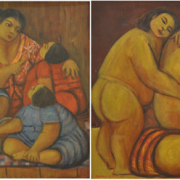 2-Mama I & Mama II, 2005 RM 6,930.00-SOLD | Oil on canvas | 61 x 61 cm x 2 pieces