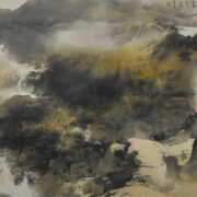 3-Sunrise In Gold Dust, 2011 RM 71,500.00-SOLD | Ink and colour on paper | 68.6 x 152.6 cm