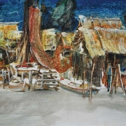 Fishing Village, 1973 RM 14,560.00-SOLD | Oil on canvas | 60 x 75.5 cm