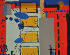"23-Frank Woo ""City Life, City Lookout Series - In Blue and Red II"" (2004) Mixed on Paper 36 x 34.4 cm"