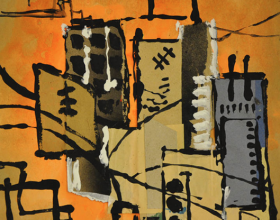 """36-Frank Woo """"City Life, City Lookout Series - Sunset"""" (2004) Mixed Media on Paper 34.5 x 35cm"""