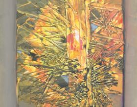 """41-Raphael Scott Ahbeng """"Woods"""" (2013) Acrylic on canvas, 90 x 60 cm"""