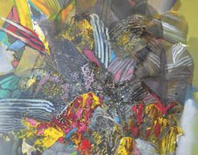 """42-Raphael Scott Ahbeng """"Foliage"""" (2012) 90 x 60 cm, Acrylic on canvas"""