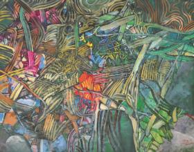 """43-Raphael Scott Ahbeng """"Forest Clockwork"""" (2012) Acrylic on canvas, 99 x 138 cm"""