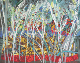 """44-Raphael Scott Ahbeng """"Forest in Gold"""" (2009) Acrylic on canvas, 96.5 x 128 cm"""