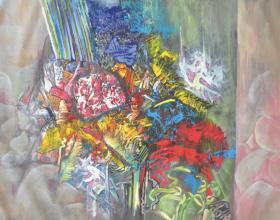 """45-Raphael Scott Ahbeng """"Forest Magnet"""" (2012) 96.5 x 128 cm, Oil on canvas"""